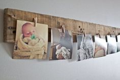 Pallet Photo Hanger by nataliepozniak on Etsy Barn Wood Crafts, Barn Wood Projects, Reclaimed Wood Projects, Craft Projects, Wood Picture Frames, Picture On Wood, Picture Collages, Wooden Frames, Picture Photo
