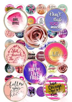 Digital Collage Pink Purple Quotes Glitter  by ThePrintablesWorld