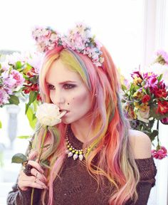 Find images and videos about hair, flowers and pastel on We Heart It - the app to get lost in what you love. Epic Hair, Hot Hair Colors, Love Your Hair, Coloured Hair, Crazy Hair, Rainbow Hair, About Hair, Hair Dos, Flowers In Hair