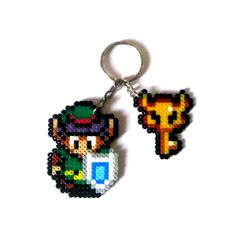 Link (A Link to the Past) & Boss Key, The Legend of Zelda Sprites, keychain…