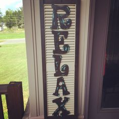 Sign I made for our back porch using an old plastic shutter I found at a flea ma… - All About Decoration Kitchen Shutters, Metal Shutters, Raised Panel Shutters, Plastic Shutters, Bedroom Shutters, Indoor Shutters, Vinyl Shutters, Interior Shutters, Farmhouse Shutters