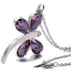 """Unistyle Fashion Stainless Steel Cubic Zirconia Dragonfly Pendant Necklace, 18"""" http://www.amazon.com/dp/B00ZWI4SQW"""