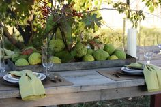 Sweet Something Designs: Harvest Green Tablescape. Hedge apples or Osage oranges? Outdoor Table Settings, Outdoor Tables, Fall Home Decor, Autumn Home, Autumn Fall, Apple Theme Parties, Fresco, Hedge Apples, Changing Leaves