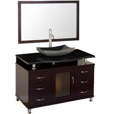 "Accara 48"" Bathroom Vanity with Drawers - Espresso w/ Black Granite Counter $1199"