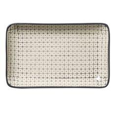 Assiette rectangulaire céramique motifs gris Carla Bloomingville