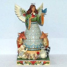 Woodland Wonders-Angel With Woodland Animals Figurine