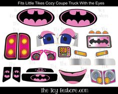 Replacement Decals fits Little Tikes #CozyCoupeTruck With Eyes #Batgirl Pink #LittleTikes