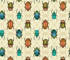 Beetle Bling - Bronze & Jade fabric by samalah on Spoonflower - custom fabric