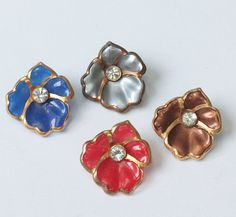Four Pansy Flower Scatter Pins Red Blue Silver by PastSplendors