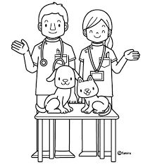 Veterinary Coloring Pages Community Helpers Pictures, Community Helpers Preschool, Cute Coloring Pages, Coloring Pages For Kids, Adult Coloring, Preschool Writing, Preschool Themes, Color Flashcards, Community Workers