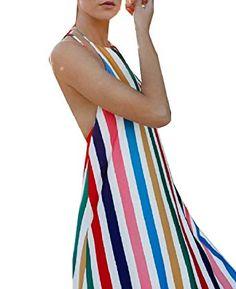 21623e1934e0b RDHOPE-Women Rainbow Swing High Neck Sexy Backless Striped Maxi Dress Multi  L