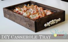 DIY- Make a great Casserole Holder or Appetizer Tray. It would also be great for small plants, jewelry, gift basket or anything else you'd like. (Love the white decal on the front.)