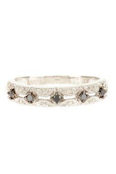 10K White Gold & Black Rhodium Diamond Ring