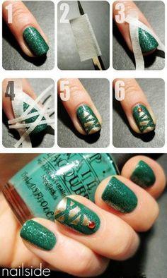2013 Christmas tree nails, Green Christmas nails for girls, Christmas tree nails Tutorial for 2013