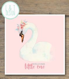 Swan New Baby Card by LandTdesign on Etsy