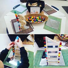 A building and measuring provocation! One student even decided to measure both sides with the cubes since they were different heights! Measurement Kindergarten, Kindergarten Inquiry, Measurement Activities, Math Measurement, Math Activities, Preschool Activities, Reggio Classroom, Early Math, Play Based Learning