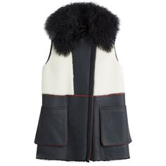 Diane von Furstenberg Lambskin and Shearling Vest (€779) ❤ liked on Polyvore featuring outerwear, vests, multicolor, colorful vest, shearling vest, sleeveless waistcoat, pocket vest and lambskin leather vest