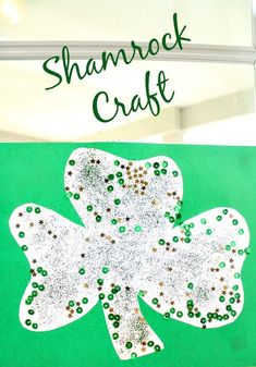 This shamrock craft is easy enough for toddlers to make but still fun for kids of all ages. It looks great hanging on a wall or as a suncatcher in the window. March Crafts, St Patrick's Day Crafts, Spring Crafts, Fun Crafts, Holiday Fun, Holiday Crafts, Holiday Themes, Festive, Creative Activities For Kids