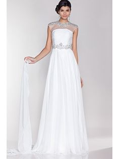 BB583 white chiffon lined with satin. Beautiful beaded detail
