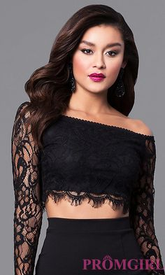 Image of two-piece black lace prom dress with long sleeves. Style: SY-IDS1056VP Detail Image 1