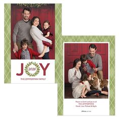 Joyful Wreath is a 5x7 double sided card. Visit our website for more holiday card options! | JCPenney Portraits