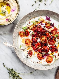 Charred tomatoes with cold yoghurt (Ottolenghi) - Izy Hossack - Top With Cinnamon Ottolenghi Recipes, Yotam Ottolenghi, Vegetarian Recipes, Cooking Recipes, Healthy Recipes, Tomato Dishes, Middle Eastern Recipes, Summer Recipes, Food Inspiration