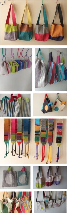 Artisan Akiko Iwamoto learned textile dyed silk weaving at the Muse…Beautiful collection of handmade bags♥ the ones with white circles ♥ woven strapsIdeas and Influences Craft Bags, Diy Bags, Linen Bag, Patchwork Bags, Fabric Bags, Cotton Bag, Cloth Bags, Handmade Bags, Fabric Crafts