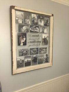 Old single pane window frame turned into a collage photo frame with quote. Bathroom Medicine Cabinet