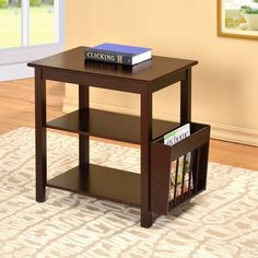 Cappuccino Wooden End Table with Magazine Holder ($106) ❤ liked on Polyvore featuring home, furniture, tables, accent tables, wood shelving, wooden book shelf, wooden shelf, storage shelf et wood book shelf