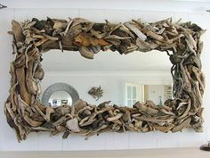 what a great idea-driftwood mirror frame...perfect for my future beach house