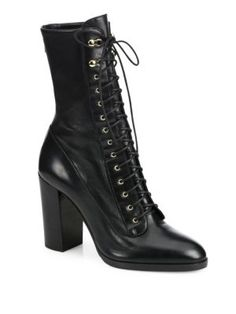 Sergio Rossi - Changeling Leather Lace-Up Block-Heel Booties