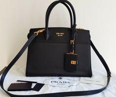 b8a06755d99fd0 Prada Black Saffiano City Calf Leather Tote Bag 1BA047 Crossbody Esplanade  Calf Leather, Prada,