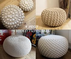 VIDEO TUTORIAL 4 Knitted & Crochet Pouf Floor cushion Patterns, Crochet Pattern, Knit Pattern Knitting Crochet pattern by isWoolish Pouf En Crochet, Crochet Pouf Pattern, Knitted Pouf, Crochet Cushions, Crochet Pillow, Crochet Floor Cushion, Crochet Home, Christmas Knitting Patterns, Knit Patterns