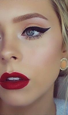 Red Lips + Bold Liner + Highlighted + Blush