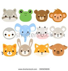 set of twelve illustration of cute cartoon baby monkey, frog, penguin, elephant, cow, mouse, bunny, dog, cat, fox, bear and raccoon on white background. can be used for cards or birthday invitations - stock vector