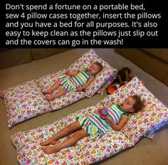 Sew 4 pillow cases together then slip in 4 pillows! Easy cleaning, just pull pillows out of cases & wash, then put pillows back into their cases :)