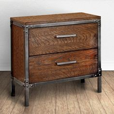 $195 - Furniture of America Anye Industrial Style 2-Drawer Nightstand - 24 inches high x 23.5 inches wide x 16 inches deep