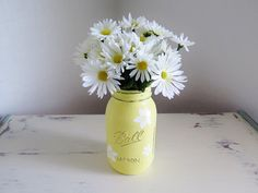 Painted Mason Jars. Glass Jars. Flower Vases. by MyHeartByHand