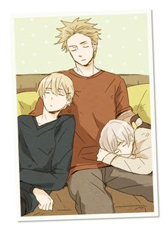Hetalia_Norway, Denmark, Iceland. The little family takes an afternoon nap. Such a cute picture ^^