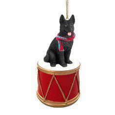 German Shepherd Black Drum Ornament
