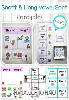 FREE Short and Long Vowel Activity Pack. Tons of fun ways to practice those tricky vowel sounds - sorting mats, dice...