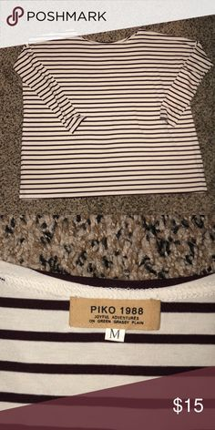 PIKO Stripped Shirt Classic Piko Fit (tight arms with loose fit chest). Worn once. Still in amazing shape!! Maroon and cream striped. Size M! Piko 1988 Tops Tees - Long Sleeve