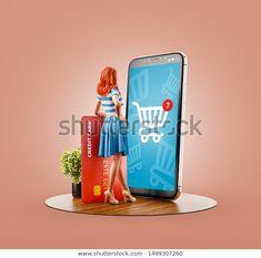 Unusual 3d Illustration Happy Woman Credit Stock Illustration 1499307260 Creative Poster Design, Ads Creative, Creative Posters, Creative Advertising, Advertising Design, Banks Ads, Cover Pics For Facebook, Mobile Advertising, Pret A Porter Feminin
