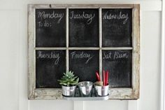 Super cute and super easy to make. Weekly Chalkboard organizer :)