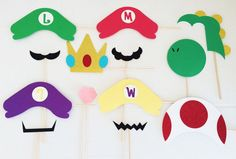 Super Mario Party Photo Booth Props by LetsGetDecorative Super Mario Birthday, Mario Birthday Party, Super Mario Party, Birthday Party Tables, Birthday Games, 30th Birthday, Birthday Ideas, Mario Brothers, Video Game Wedding