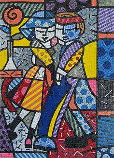 Dancing Couple by the Artist Romero Britto Mosaic Mural Art MC649