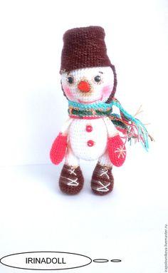 Купить Амигуруми. Снеговик. - комбинированный, амигуруми, амигуруми крючком, миниатюра, снеговик, белый, морковный, морковка