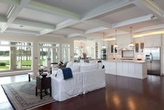 White Coffered ceiling in Great Room with open floor plan - Found on Zillow Digs