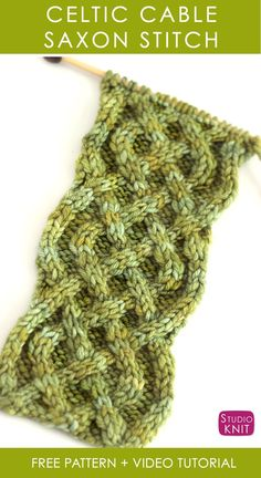 How to Knit the Celtic Cable Saxon Braid Stitch with Free Knitting Pattern Video Tutorial by Studio Knit StudioKnit knittingpattern cableknitting Knitting Stiches, Knitting Charts, Easy Knitting, Knitting Patterns Free, Knitting Yarn, Knit Patterns, Crochet Stitches, Knit Crochet, Stitch Patterns