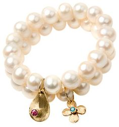 Lauren Sigman Pearl Stacking Bracelets in Pink Tourmaline and Blue Topaz on shopstyle.com